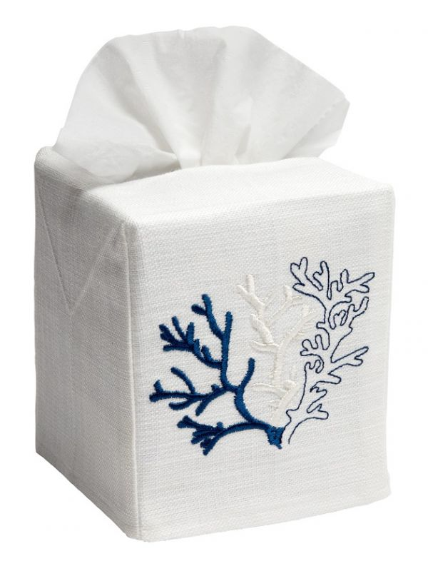 DG17-CLNA Tissue Box Cover - Coral (Midnight Blue)