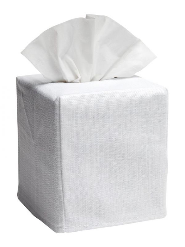 Tissue Box Cover,** White Linen / Cotton - No Embroidery