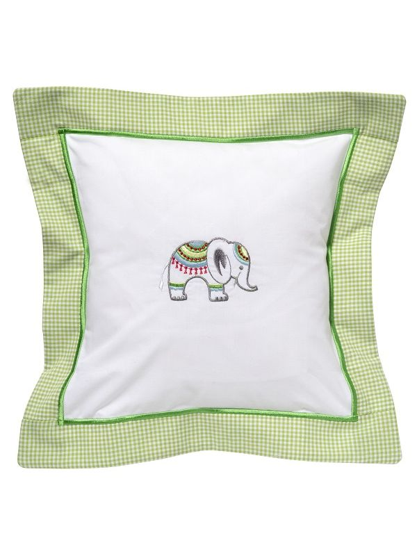 Baby Pillow Cover, Lucky Charm Elephant (Green) - DG136-LCEL