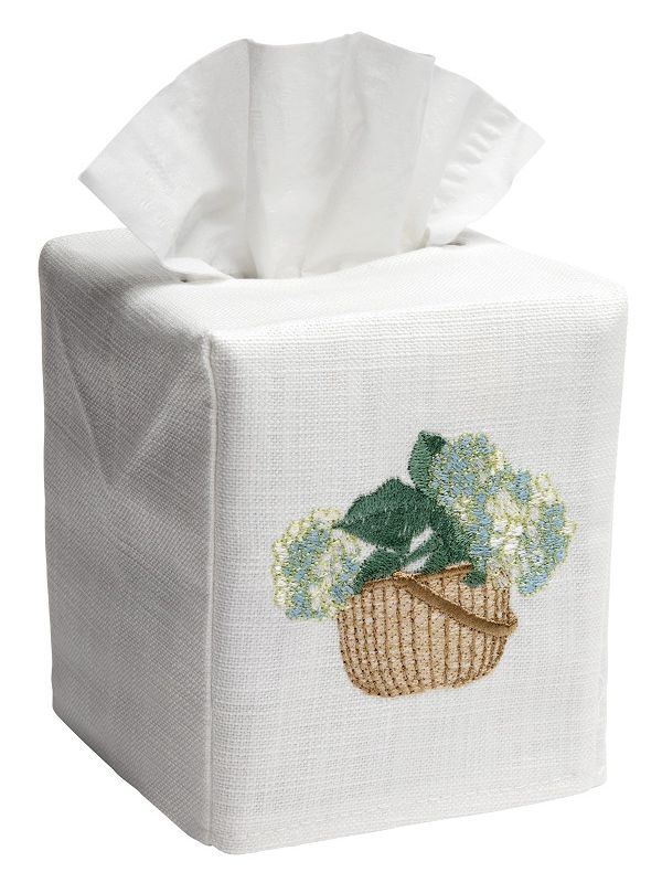 DG17-HBCRB** Tissue Box Cover, Linen Cotton - Hydrangea Basket (Cream/Blue)