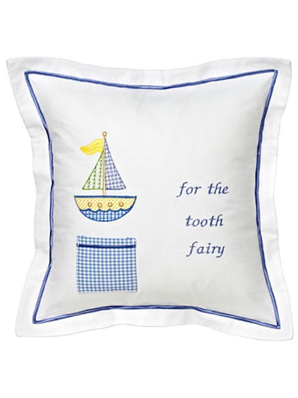 Tooth Fairy Pillow Cover, Cross Stitch Sailboat (Blue) - DG131-CSSB