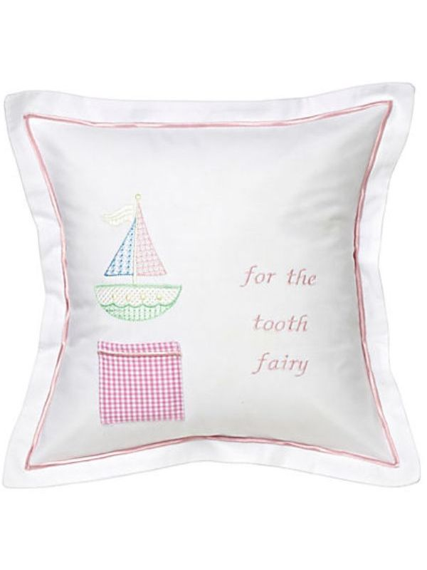 Tooth Fairy Pillow Cover, Cross Stitch Sailboat (Pink) - DG131-CSSP
