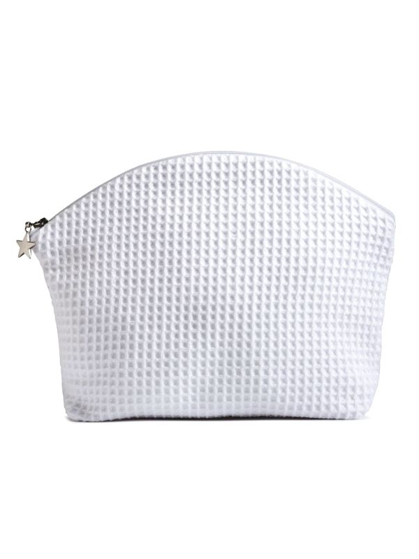 Cosmetic Bag (Medium)** - White Waffle Weave, Curved Top