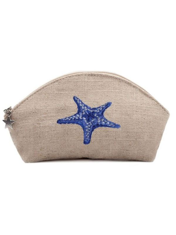 DG38-MSFBL** Cosmetic Bag, Natural Linen (Small) - Morning Starfish (Blue)