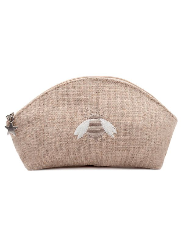 DG38-NBBE Cosmetic Bag, Natural Linen (Small) - Napoleon Bee (Beige)