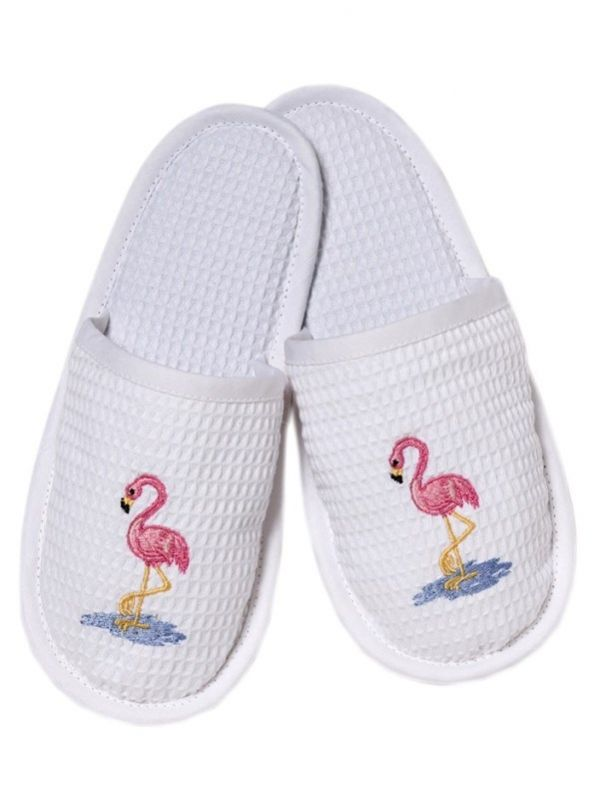 Slippers, Waffle Weave, Flamingos (Pink) - DG05-FOPK