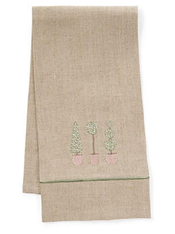 Guest Towel, Natural Linen & Satin Stitch, Three Topiary Trees (Olive) - DG33-TTTO