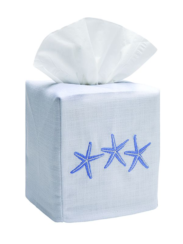 DG17-TSFBL** Tissue Box Cover, Linen Cotton - Three Starfish (Blue)
