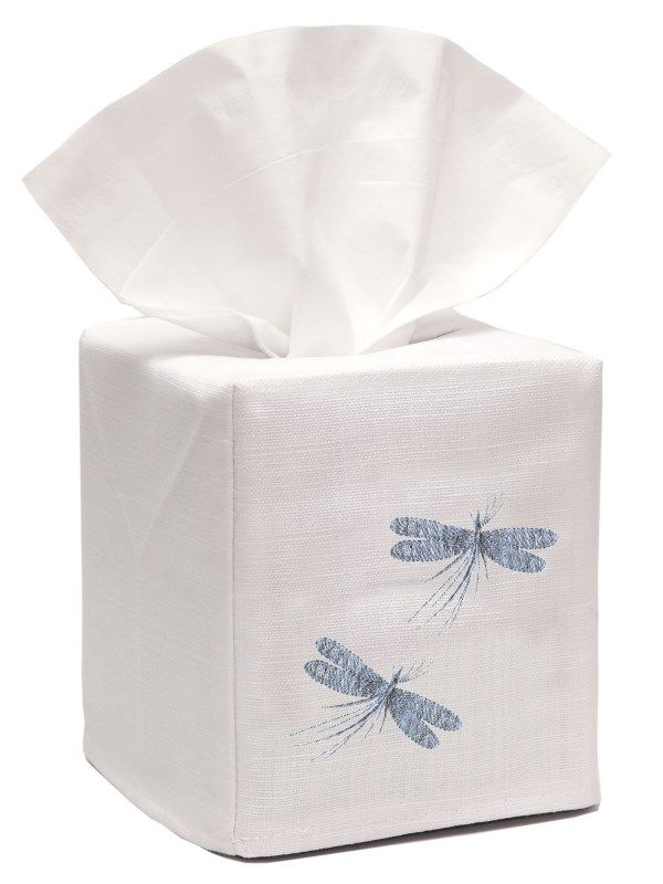 DG17-TWDDE-C** Tissue Box Cover, Linen Cotton - Two Dragonflies - Classic (Duck Egg Blue)