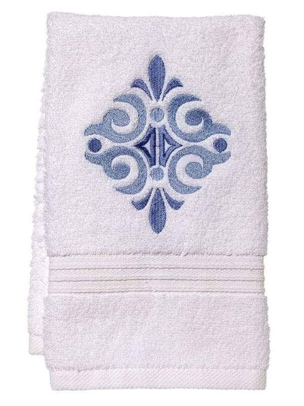 Guest Towel, Terry, Amalfi Scroll (Blue) - DG70-AMSBL**
