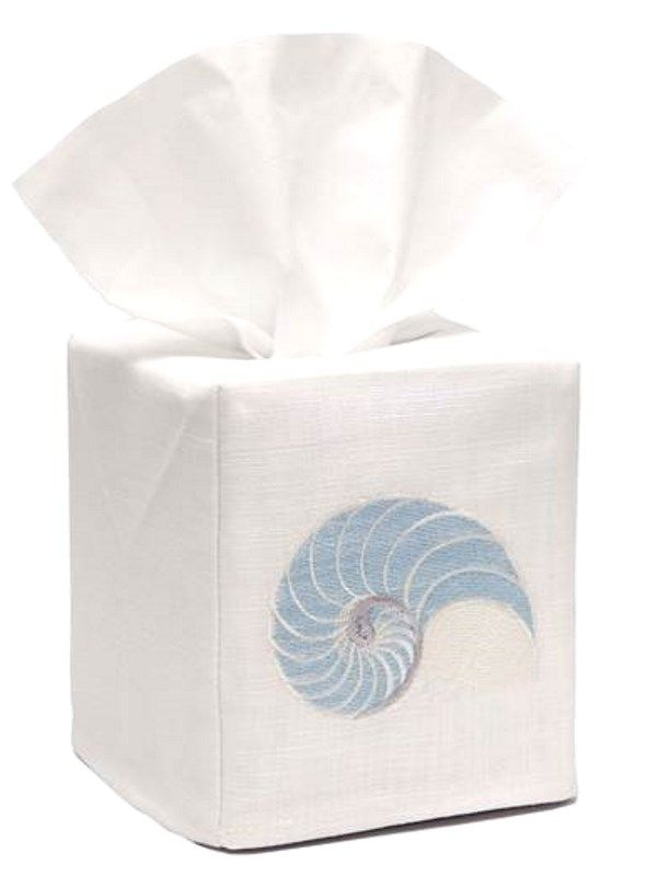 DG17-STNDE** Tissue Box Cover, Linen Cotton - Striped Nautilus (Duck Egg Blue)