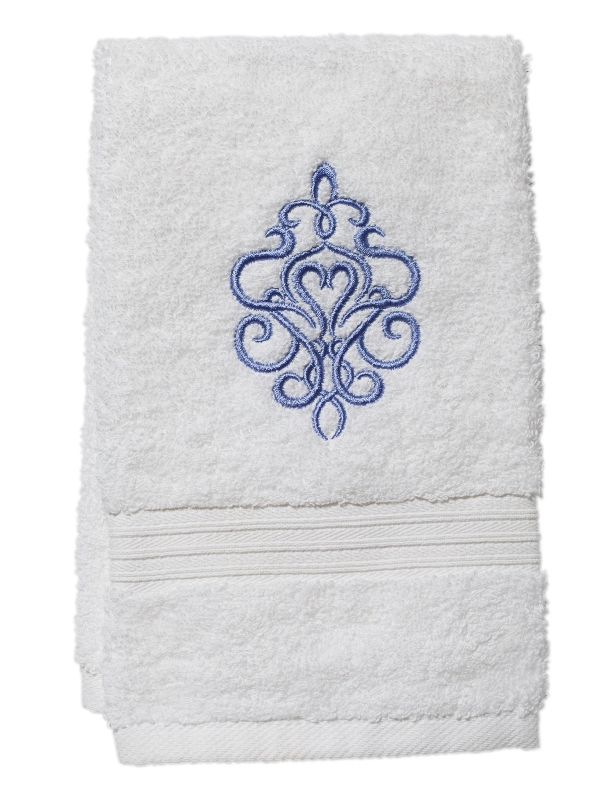 DG70-TSBL Guest Towel, Terry - Tuscan Scroll (Blue)