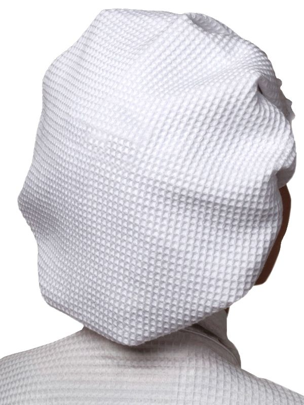 Shower Cap, White Cotton Waffle Weave, No Embroidery - DG30**
