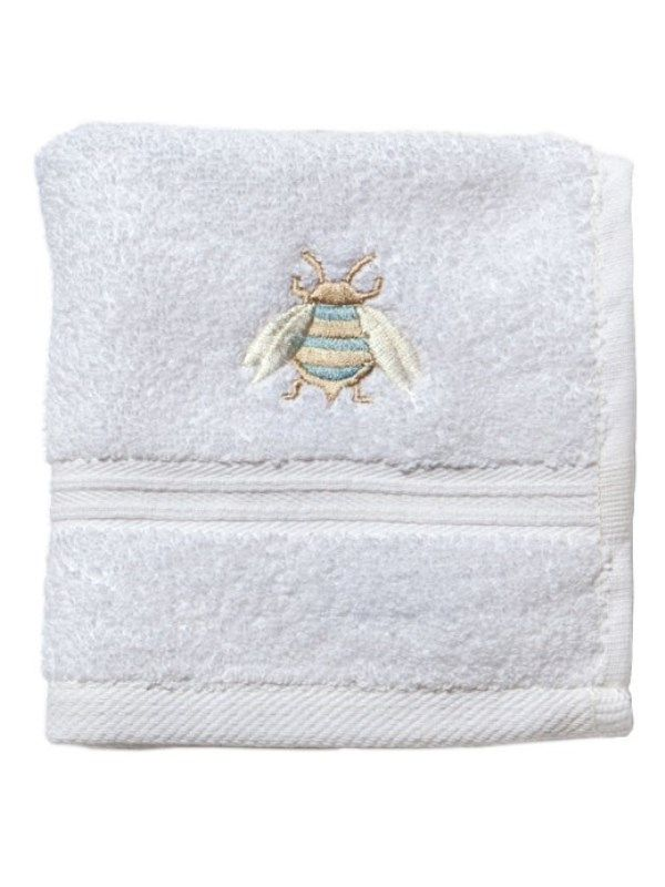 Face Cloth - White Cotton Terry, Embroidered