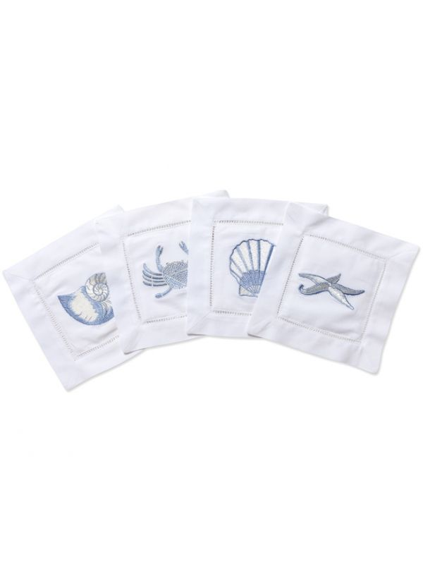 LG82-SLBL Cocktail Napkins - Sealife (Blue)**. Set of 4