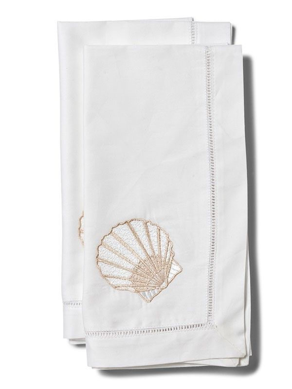 LG81-SCBE Dinner Napkin, Scallop (Beige)** Set of 2