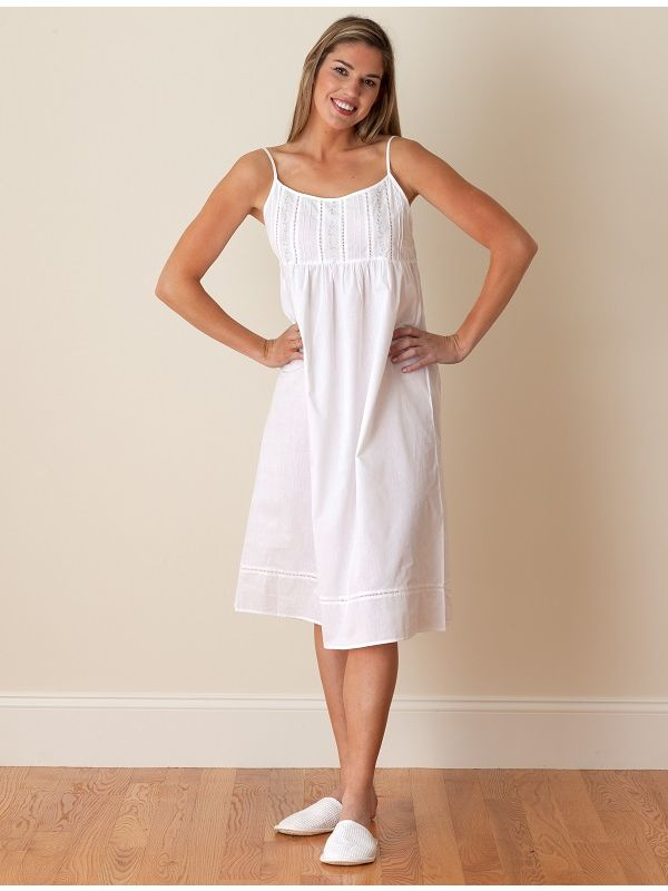 Elaine White Cotton Nightgown, Embroidered** - EL242