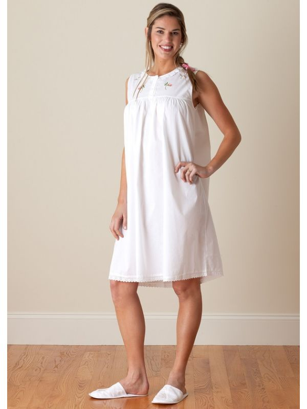 Sweet Pea White Cotton Nightgown, Embroidered** - EL289