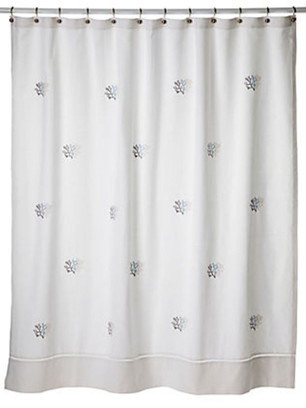 LG72-CLDE** Shower Curtains - Coral (Duck Egg Blue)