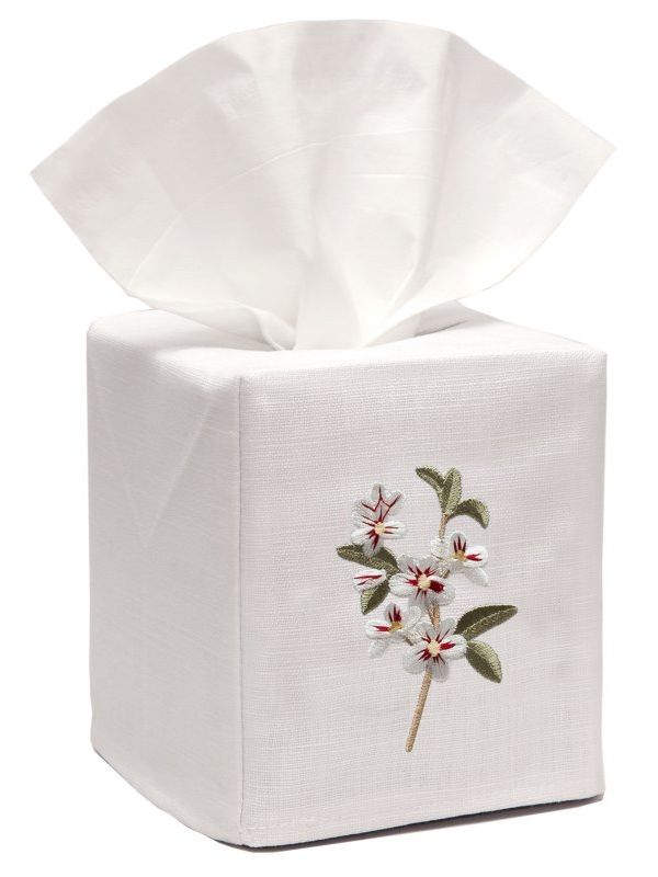 DG17-ABWH** Tissue Box Cover, Linen Cotton - Apple Blossom (White)