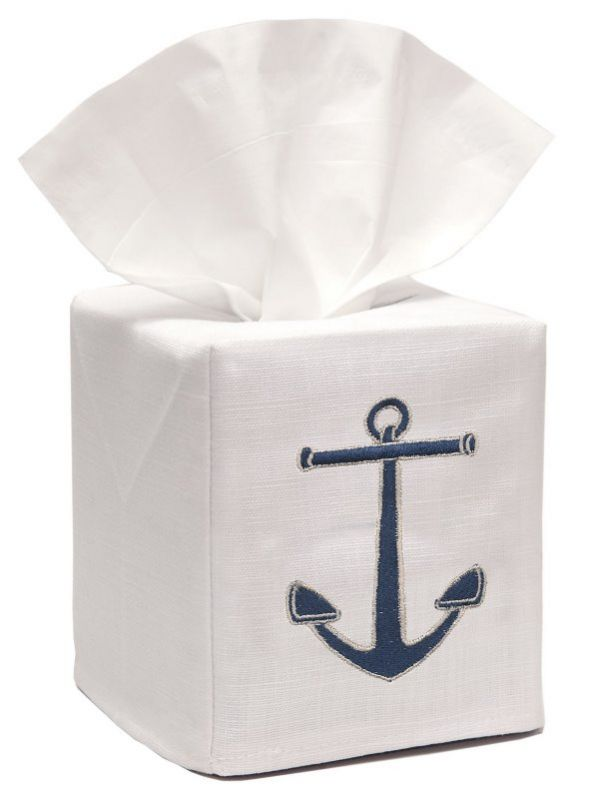 DG17-ANNA** Tissue Box Cover, Linen Cotton - Anchor (Navy)