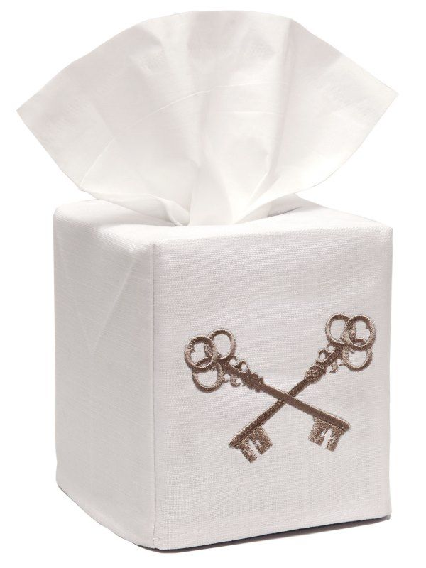 DG17-CKM Tissue Box Cover, Linen Cotton - Crossed Keys (Mushroom)