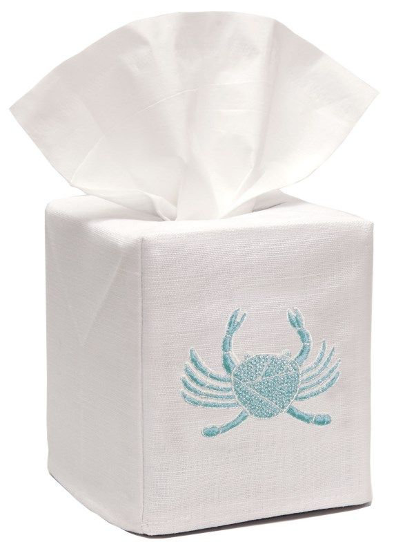 DG17-CRAQ** Tissue Box Cover, Linen Cotton - Crab (Aqua)