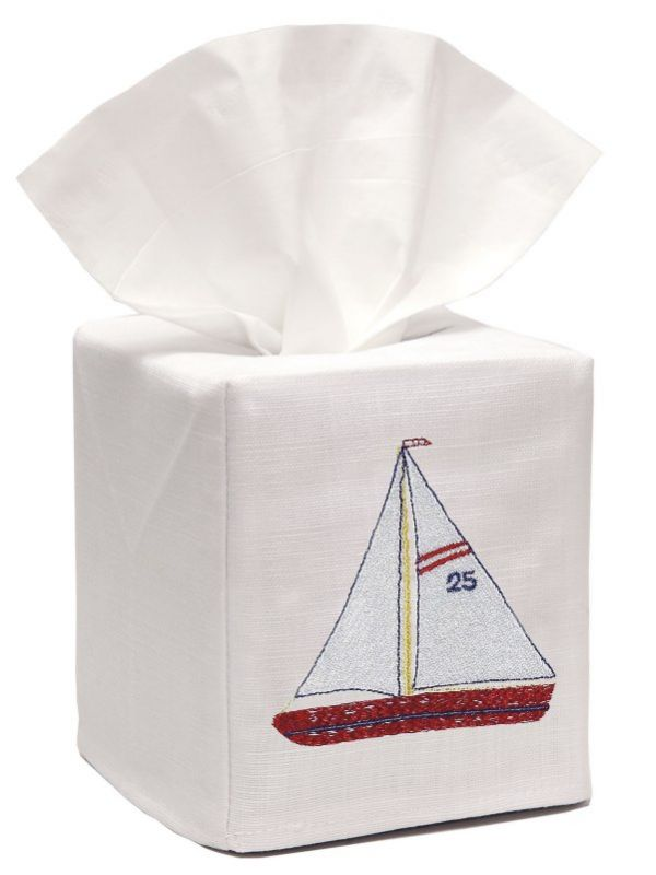 DG17-SBRW** Tissue Box Cover, Linen Cotton - Sailboat (Red/White)