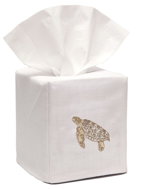 DG17-STBE** Tissue Box Cover, Linen Cotton - Sea Turtle (Beige)