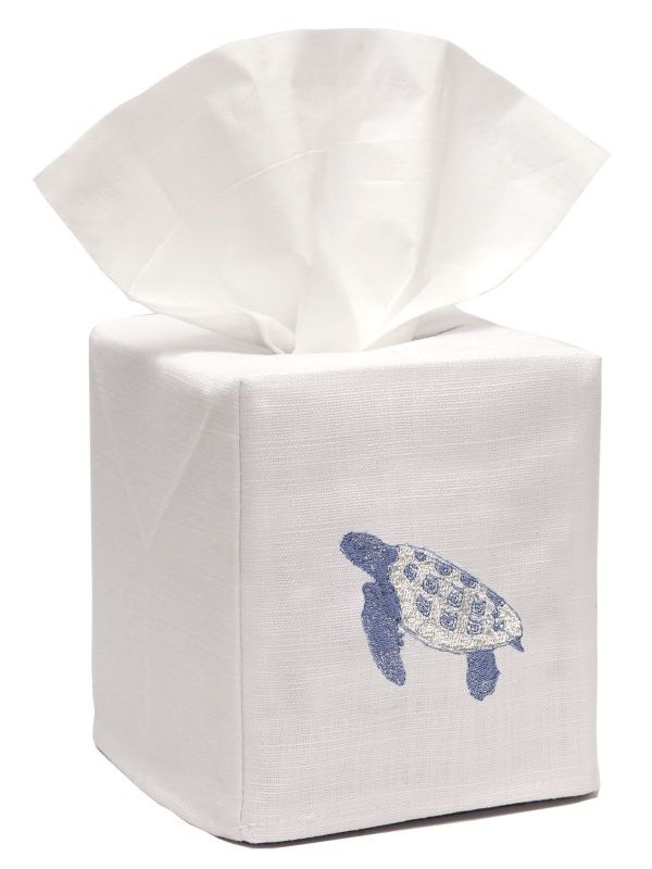 DG17-STBL** Tissue Box Cover, Linen Cotton - Sea Turtle (Blue)