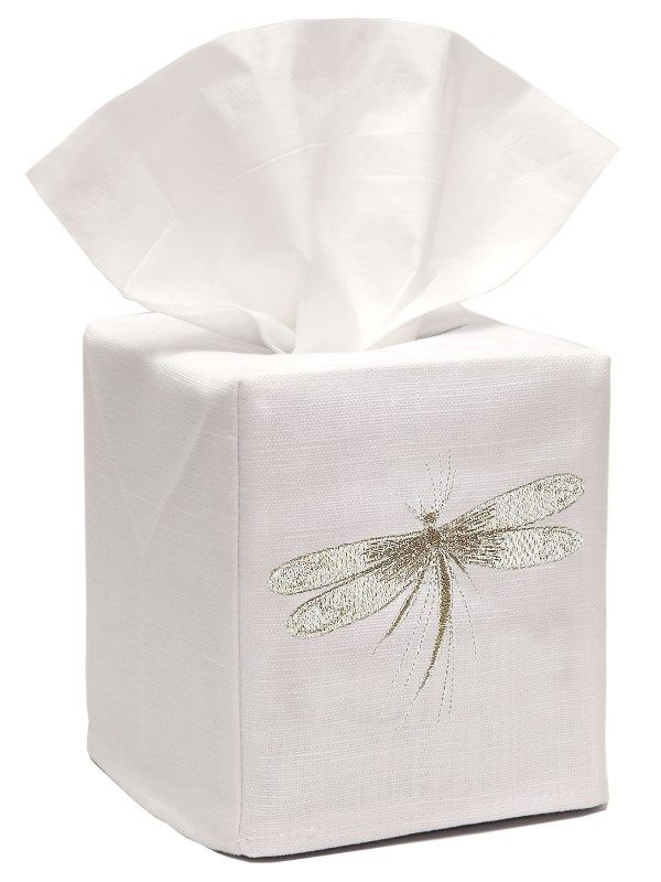 DG17-DFBE-C Tissue Box Cover, Linen Cotton - Dragonfly - Classic (Beige)