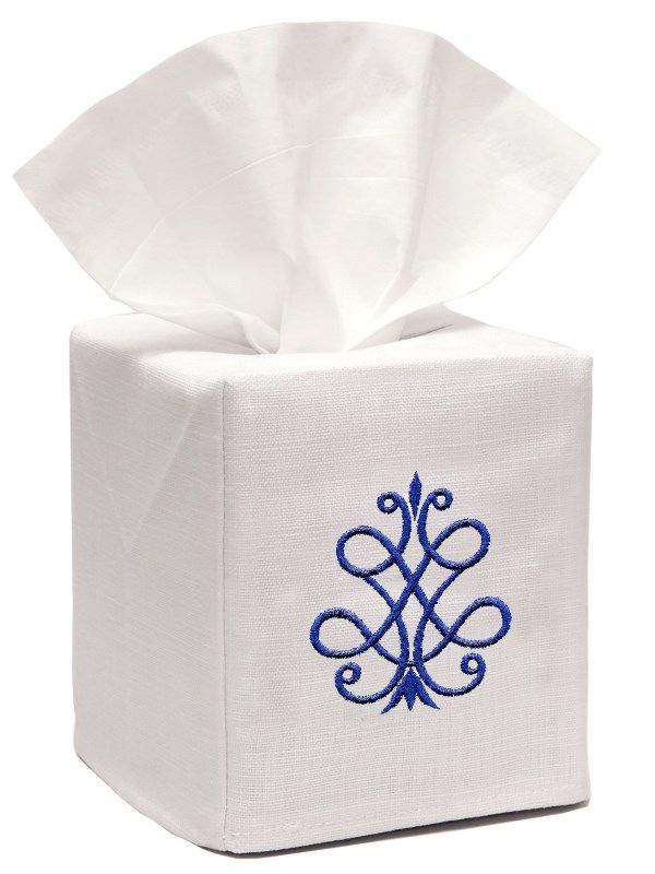 DG17-FSCB** Tissue Box Cover, Linen Cotton - French Scroll (Cobalt Blue)