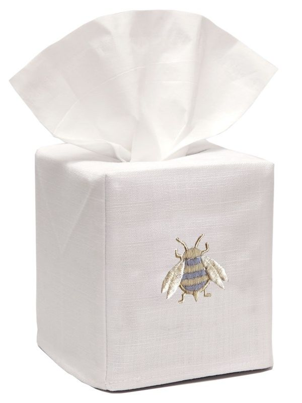 DG17-NBDE** Tissue Box Cover, Linen Cotton - Napoleon Bee (Duck Egg Blue)