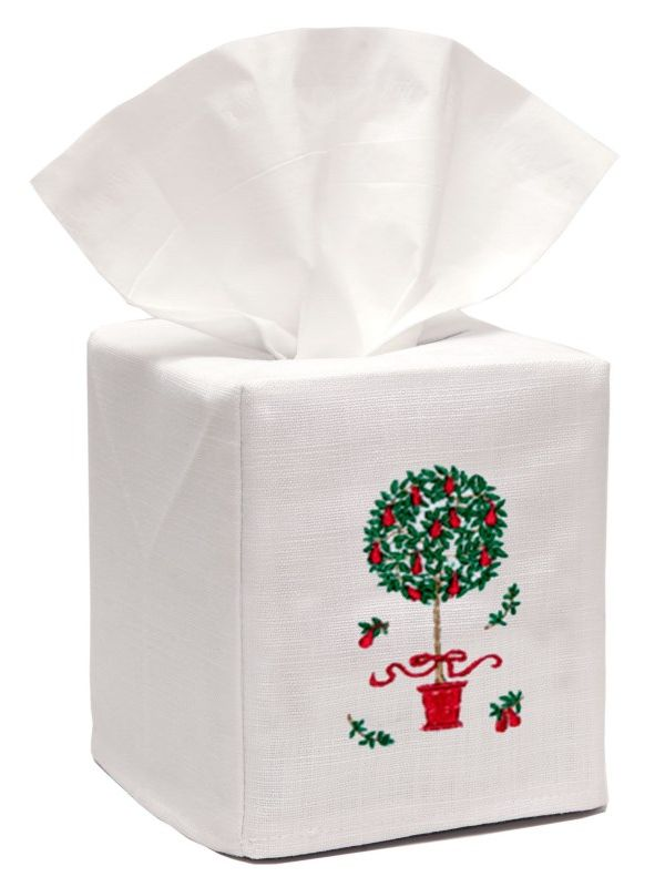 DG17-PTTR** Tissue Box Cover, Linen Cotton - Pear Topiary Tree (Red)