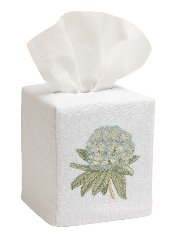 DG17-HYDE** Tissue Box Cover, Linen Cotton - Hydrangea (Duck Egg Blue)