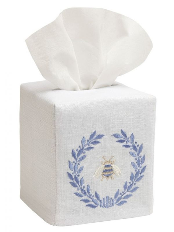 DG17-NBWBL Tissue Box Cover, Linen Cotton - Napoleon Bee Wreath (Blue)