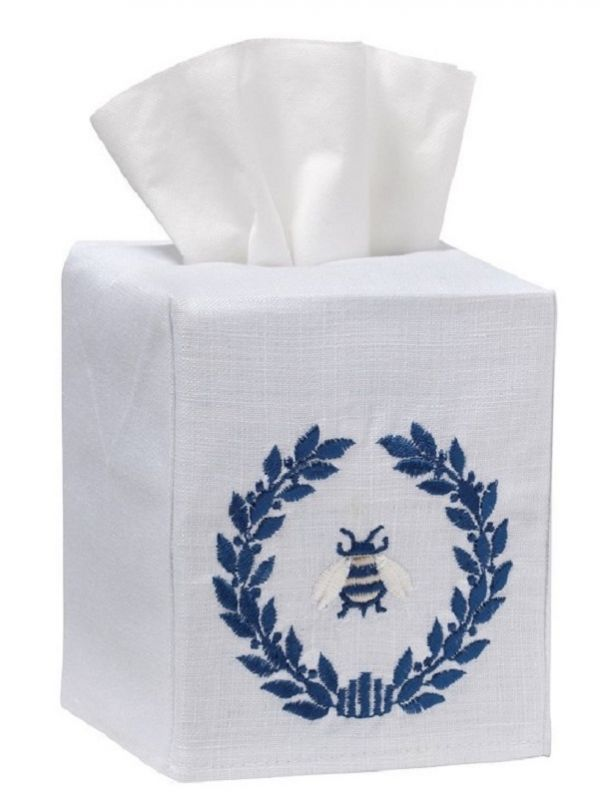 DG17-NBWNA** Tissue Box Cover, Linen Cotton - Napoleon Bee Wreath (Navy)