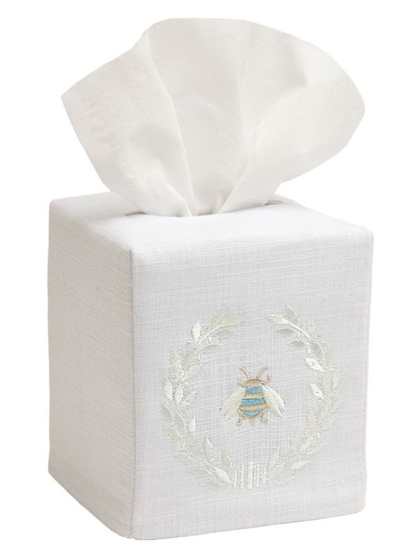 DG17-NBWCR** Tissue Box Cover, Linen Cotton - Napoleon Bee Wreath (Cream)
