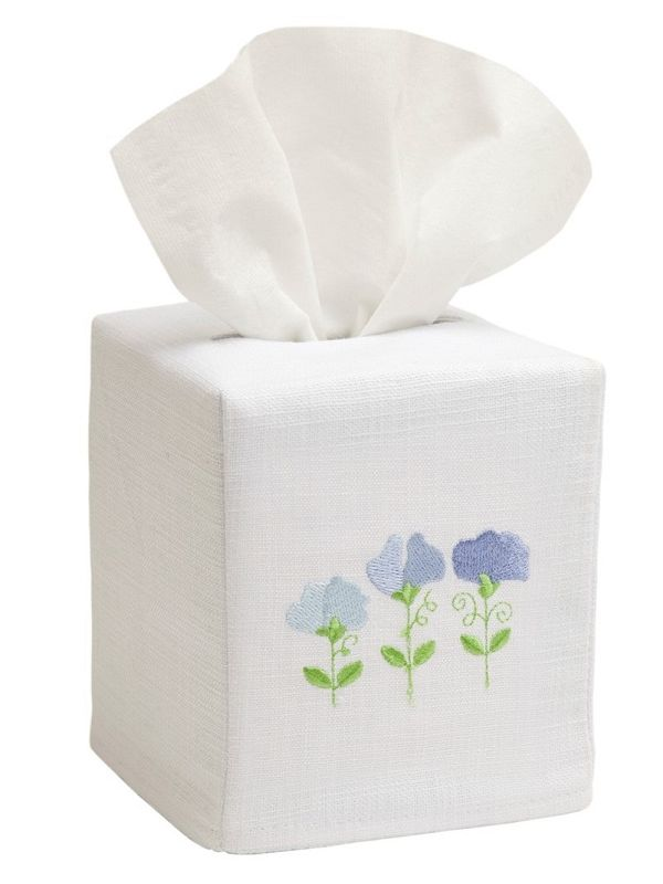DG17-RSPBL Tissue Box Cover, Linen Cotton - Row of Sweet Peas (Blue)