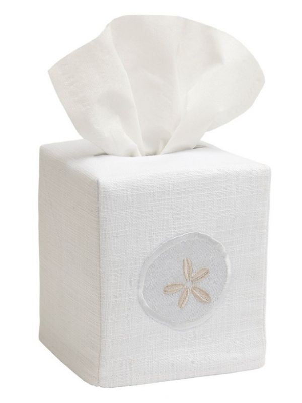 DG17-SDCR Tissue Box Cover, Linen Cotton - Sand Dollar (Cream)