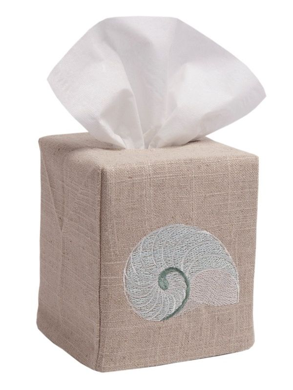 DG23-STNAQ Tissue Box Cover, Natural Linen - Striped Nautilus (Aqua)