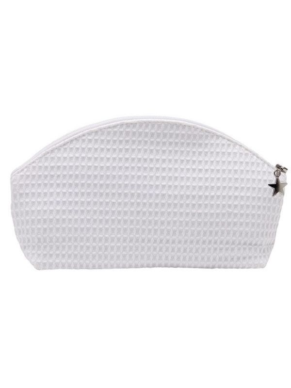 Cosmetic Bag (Small) - White Waffle Weave, Curved Top