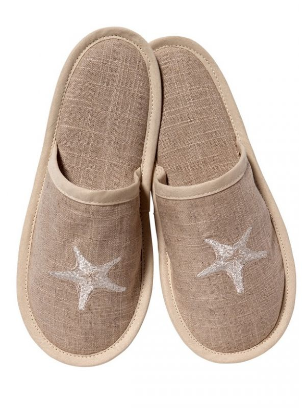 DG40-MSFBE Slippers, Natural Linen - Morning Starfish (Beige)