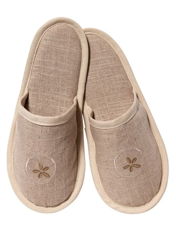 DG40-SDBE Slippers, Natural Linen - Sand Dollar (Beige)