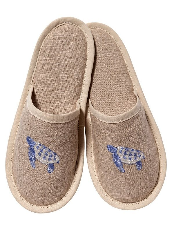 DG40-STBL Slippers, Natural Linen - Sea Turtle (Blue)