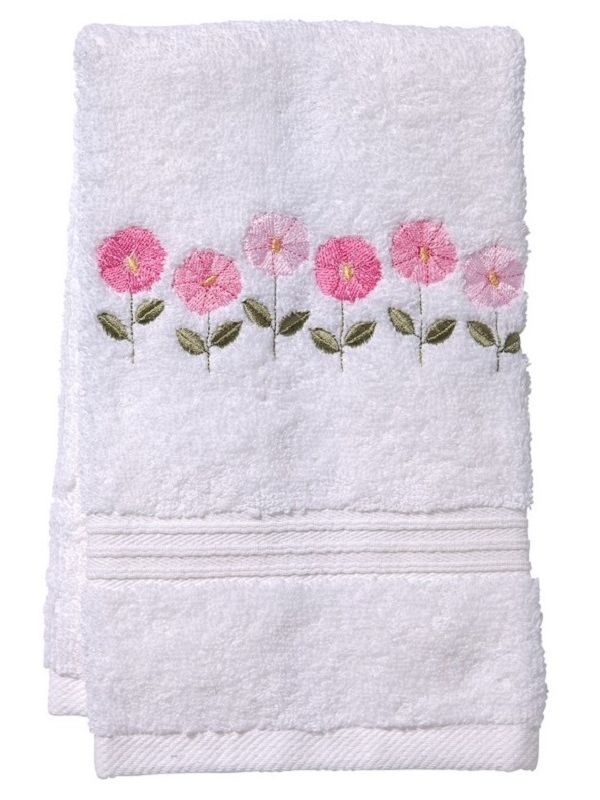 Guest Towel, Terry, Row of Flowers (Pink) - DG70-ROFPK