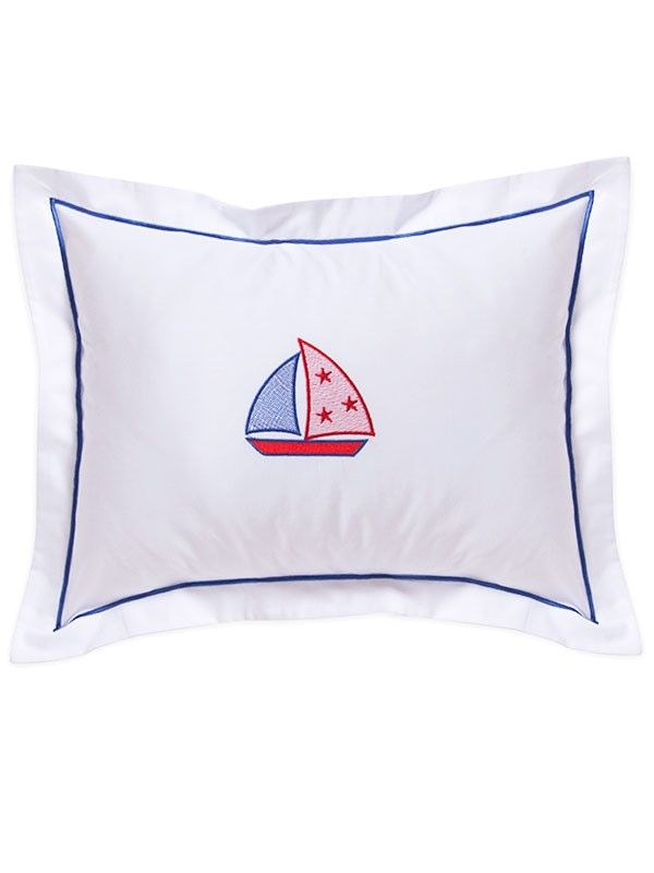 DG81-STSB Baby Boudoir Pillow Cover - Stars & Sailboat (Red/Blue)
