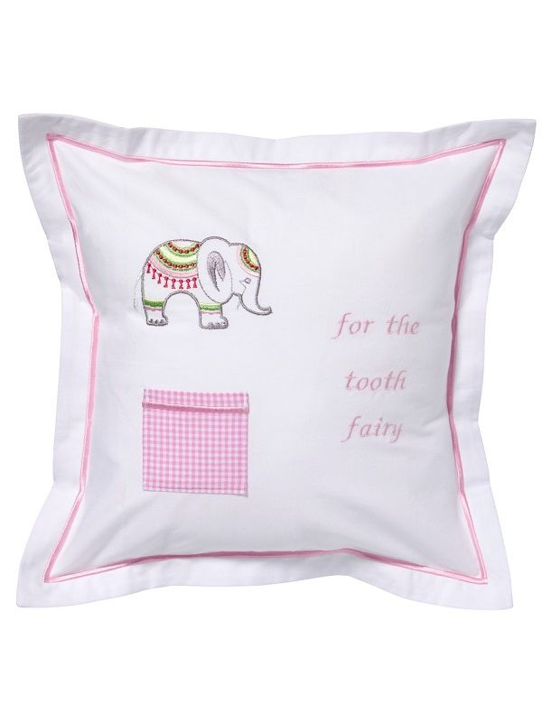 Tooth Fairy Pillow Cover, Lucky Charm Elephant (Pink) - DG131-LCEP