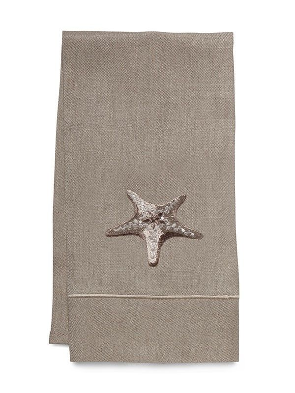 Guest Towel, Natural Linen, Morning Starfish (Beige) - DG33-MSFBE**