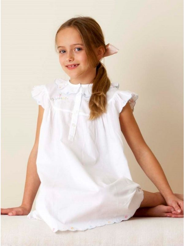 Monique White Cotton Dress, Embroidered** - EL302